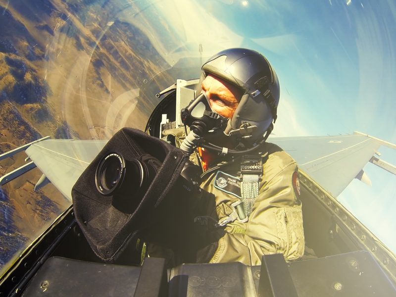 In the cockpit with photographer Frank Crebas